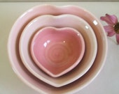 Heart Bowls - for Mom - Smaller Size - Set of 3, Handmade, Shades of Pink - Ready to Ship - Actual Set -A-2