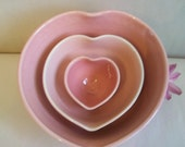 Heart Bowls - For Mom - Set of 3, Handmade, Shades of Pink - Ready to Ship - Actual Set -A-14