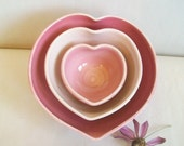 Heart Bowls - Set of 3, For Mom -  Made to Order - Handmade, Shades of Pink