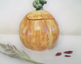 Pumpkin Covered Jar, Candy Jar, Autumn Decor, Thanksgiving
