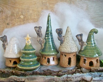 Garden Fairy Houses - Pick Your Set of 3 - Houses or Tree - Handmade on Potters Wheel - Houses in production - Ready Soon - Made to Order