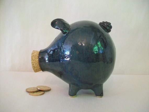 Piggy Bank - Teal - Larger Opening  - Handmade on the Potters Wheel Wheel
