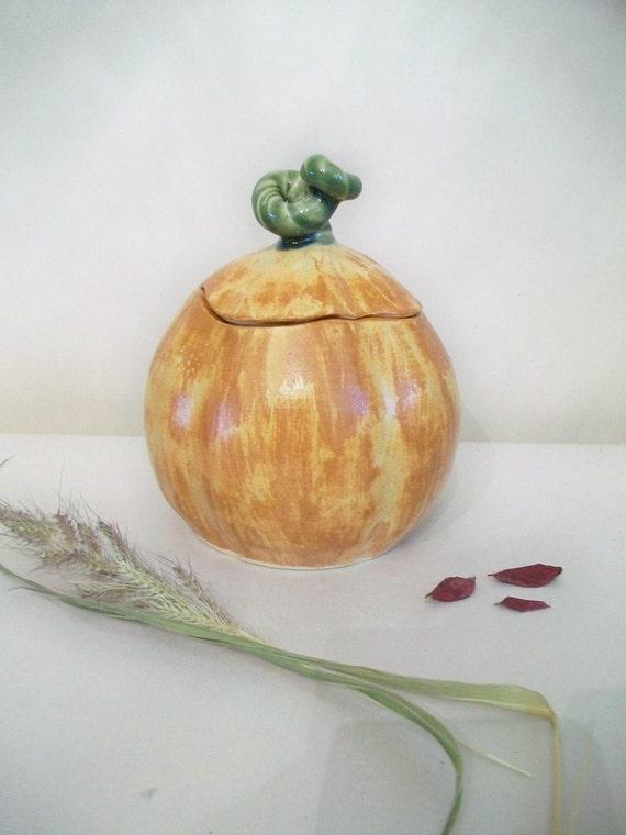 Pumpkin Covered Jar, Candy Jar, Autumn Decor, Thanksgiving