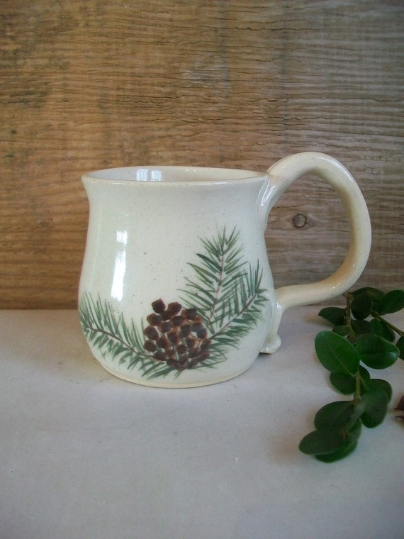 Hand-Painted Pine Mug - Ready to Ship