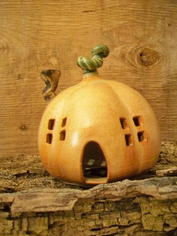 Pumpkin Fairy House/Night Light -Larger Size -  Handmade, Wheel Thrown