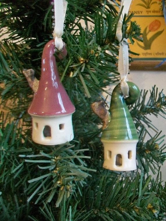 Little House Christmas Ornaments -Set of 2 /  Porcelain - Handmade, Wheel Thrown