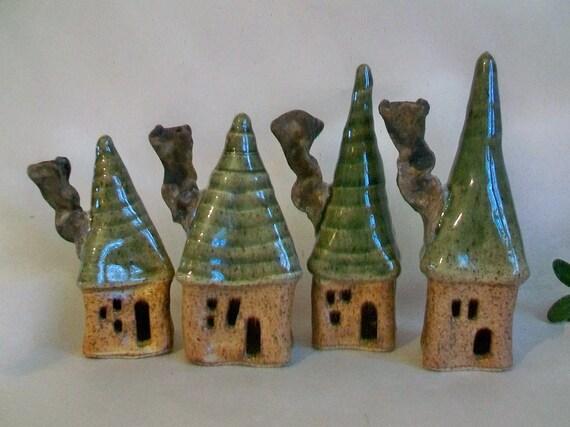 Garden Fairy Houses - New Square Design - Set of 4 - Handmade, Wheel Thrown