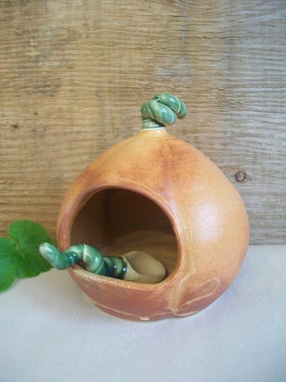 Salt Cellar/Salt Pig - with Handmade Spoon - Pumpkin Shaped