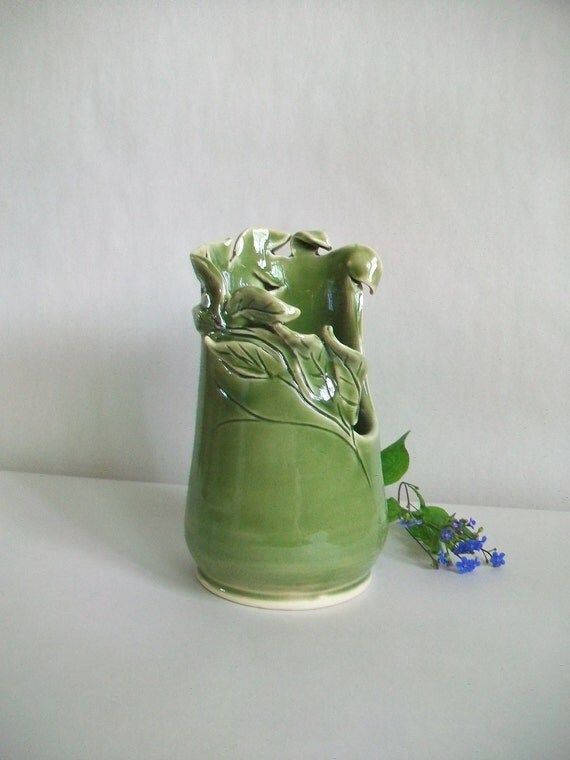 Green Vase with Hand Carved and Cut out Design -  Lovely Mothers Day Gift