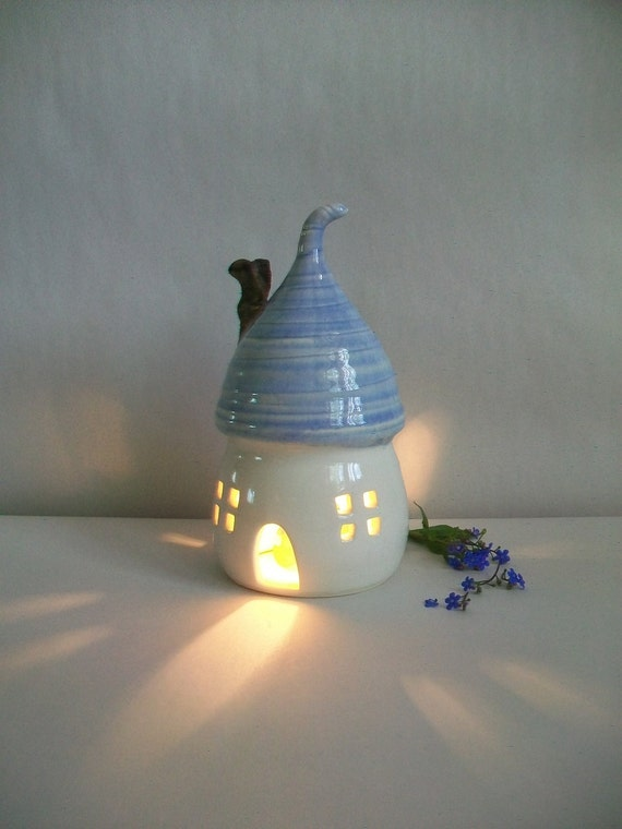 Fairy House/ Night Light - with a  Pale Blue Roof