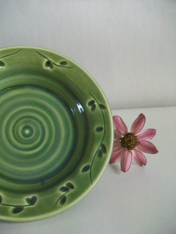 Reserved for Thea -- Candle Holder - Coaster - Trinket Dish - Wedding Favor -  Lovely Deep Green with a Carved and Pressed Design