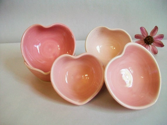 Wedding Favor Heart Bowls - 6, Handmade, Shades of Pink - Ready to Ship - Wedding Decoration, Shower Favors, Table Setting Decoration