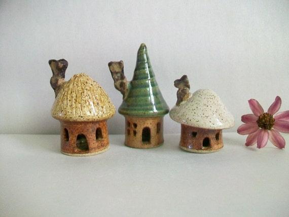 Fairy Houses - Set of 3 - Handmade, Wheel Thrown