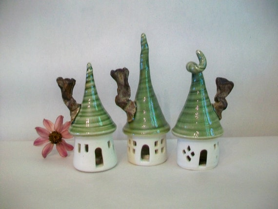 Fairy Houses -Set of 3- Great Indoors or Out - Porcelain with Green Roof - Handmade on the Potters Wheel