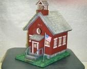 Wooden Schoolhouse Birdhouse