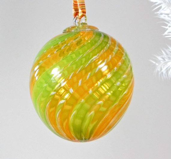 SALE Blown Glass Christmas Ornament/ Suncatcher -  Green and Orange  Stripes