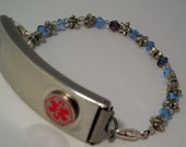 Interchangeable Medical Alert or Medical ID Bracelet- Sparkly Blue and Purple with Silver Stars
