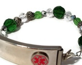 Medical Alert or Medical ID Bracelet- Interchangeable in 3 Shades of Green and Clear Crystal