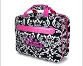 Personalized Padded Laptop Bag - Black and White Damask with Hot Pink Trim