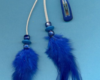 Feather Hair Clip, Barrette, FC-67,  Glass, Wood Beads, Chicken Feathers