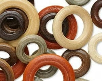 50 Wood Rings, Beads Assorted Sizes/Colors, 20mm-34mm