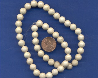 """16"""" Strand 8mm Fossil Beads:  Tan"""