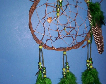 Native American inspired Dream Catcher  8-101, Guinea/Chicken Feathers, Glass/Aluminum Beads, Bear