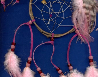 Native American inspired Dream Catcher 405, Chicken Feathers,  Glass Beads, Grapevine, Bear Bead