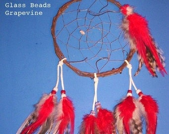 Native American inspired Dream Catcher-6-102, Chicken/Pheasant Feathers,  Glass Beads, Grapevine, Howlite Bear