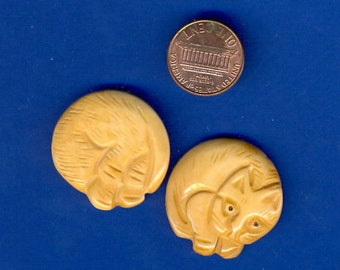 2 Bone Cat Beads, Carved on both sides, Unusual, 29mm