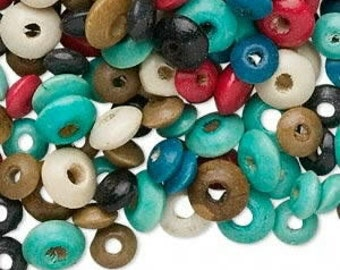 500  Wood Beads, Assorted Colors, Rondells, 8mm