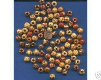 100  Pack of 12mm Wood Beads with designs, Light Weight