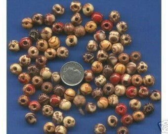 100  Pack of 8mm Wood Beads with designs, Light Weight