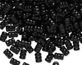 500 Pack of Black Wood Beads, Ripple Tube, 10x6mm