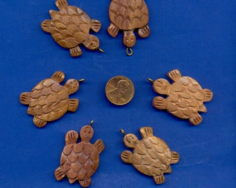 6 Wood Turtles, 42x28mm, hand-carved rosewood