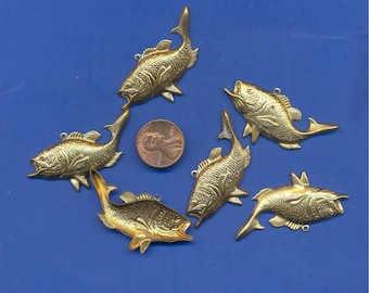 6 Brass Fish Charms, Beads, 45mm