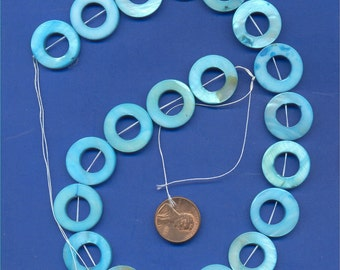 """16"""" strand of 20mm Mother of Pearl Donut beads, Blue"""