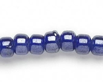 24 Inch strand of Glass Crow Beads, Blue Lustre, Large Hole
