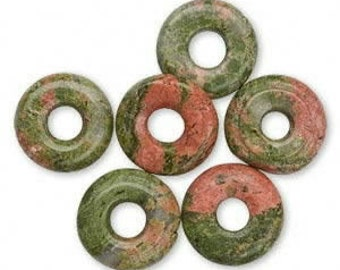 "16"" Strand of 20mm Donut Beads:  Unakite"