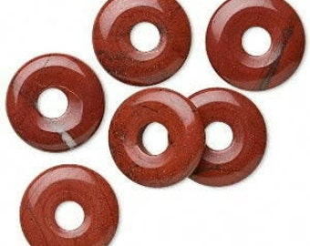 "16"" Strand of 20mm Donut Beads: Red Jasper"