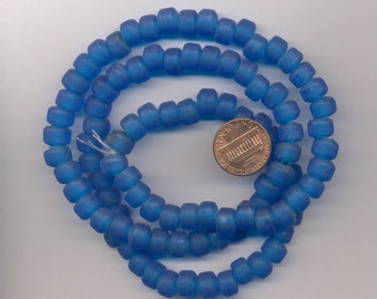 24 Inch strand of Glass Crow Beads, Translucent Blue, Large Hole
