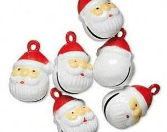 6 Brass and Enamel Bells, Santa, 22x15mm, charm