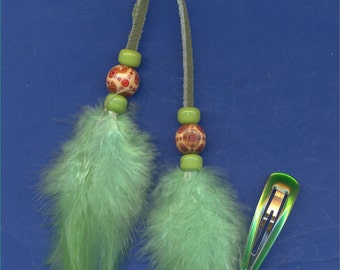 Feather Hair Clip, Barrette, FC-202, Wood and Glass Beads