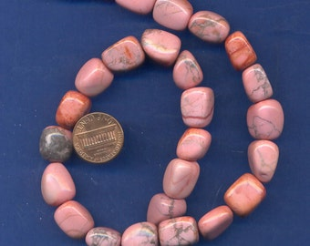 15 Inch Strand of Pink Howlite Nugget Beads, 10mm-15mm, Lot 1