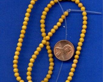 16 Inch Strand of  4mm Yellow Jade Beads