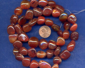 """26"""" Strand of Red Agate Pebble Beads-Lot 6, 10mm to 19mm"""