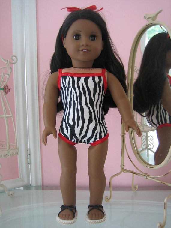 Swimsuit and sandals made to fit 18 inch American Girl doll zebra print with red trim