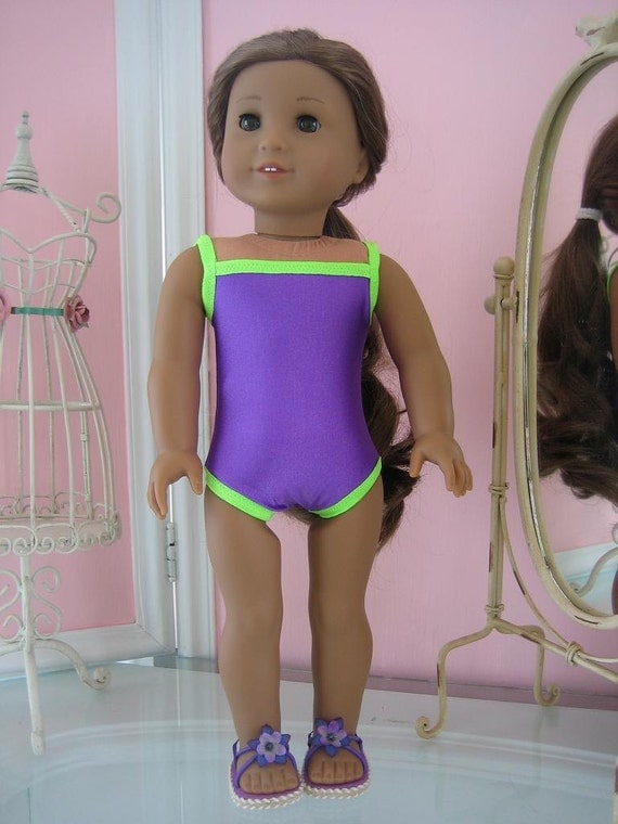 Swimsuit and sandals made to fit 18 inch American Girl doll purple with lime trim