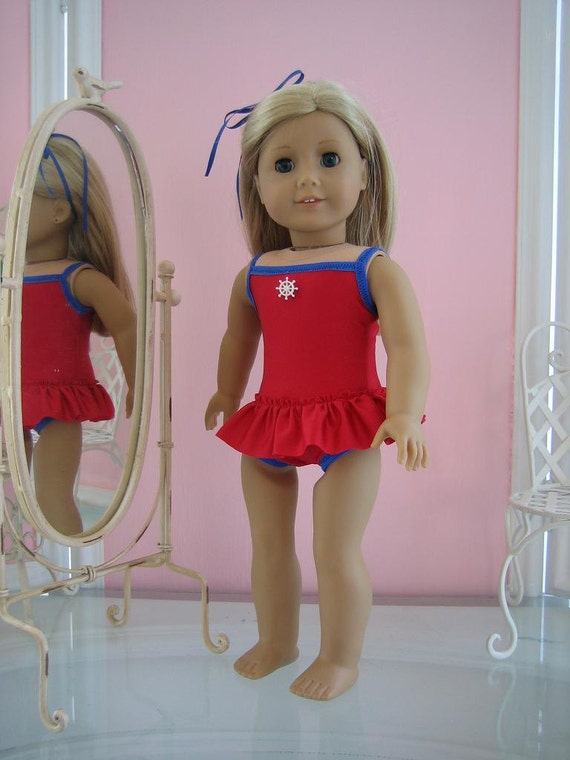 Skirted Swimsuit made to fit 18 inch American Girl doll red  with blue  trim