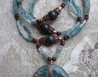 ATHENA Necklace-- blue Apatite gemstones